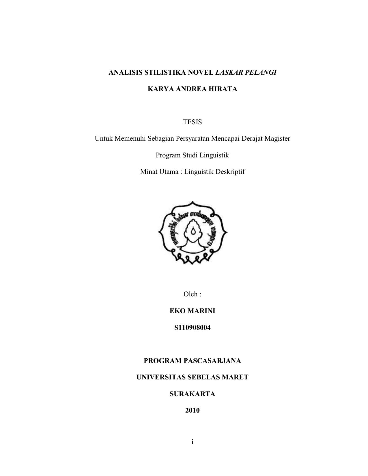 I Analisis Stilistika Novel Laskar Pelangi Karya