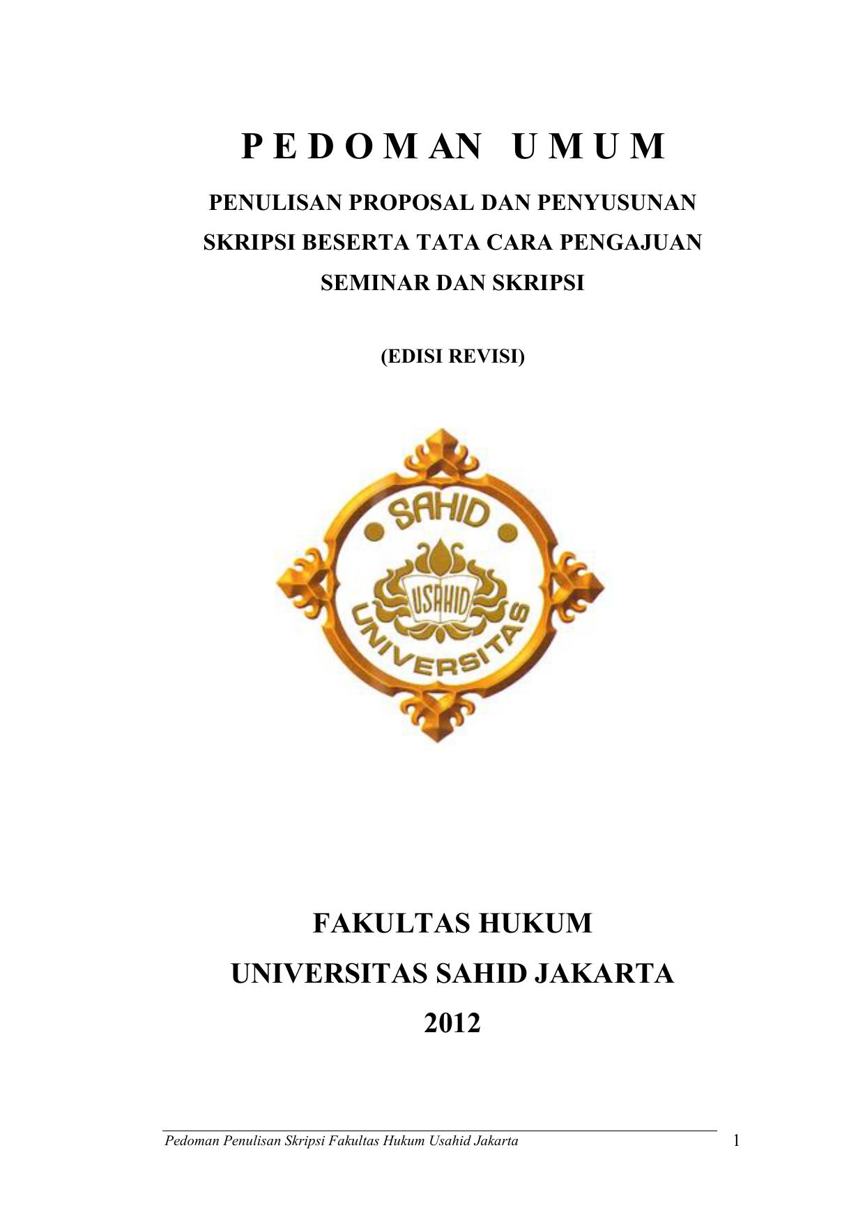 P E D O M An U M U M Universitas Sahid Jakarta