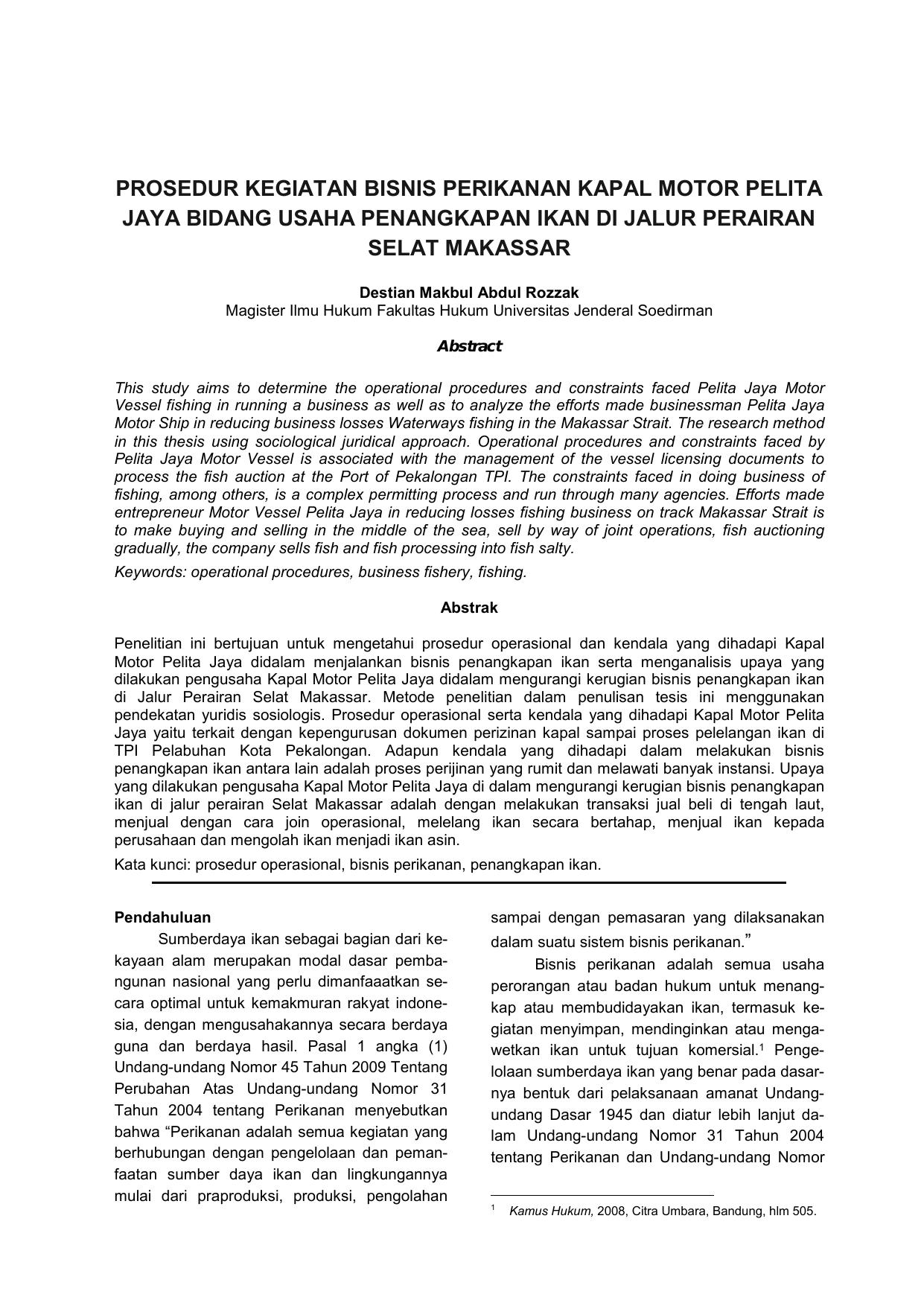 Prosedur Kegiatan Bisnis Perikanan Kapal Motor Pelita Jaya Bidang
