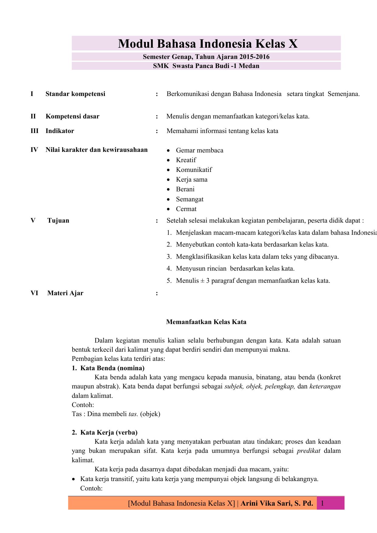 Modul Bahasa Indonesia Kelas X Smk