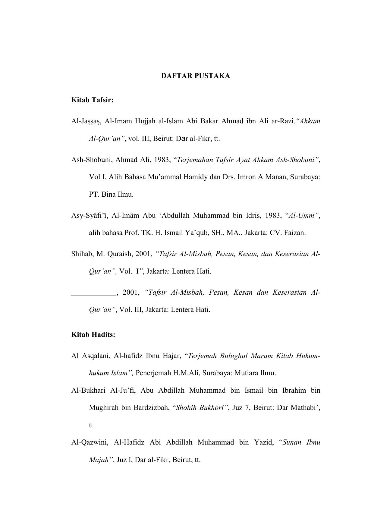 Daftar Pustaka Kitab Tafsir