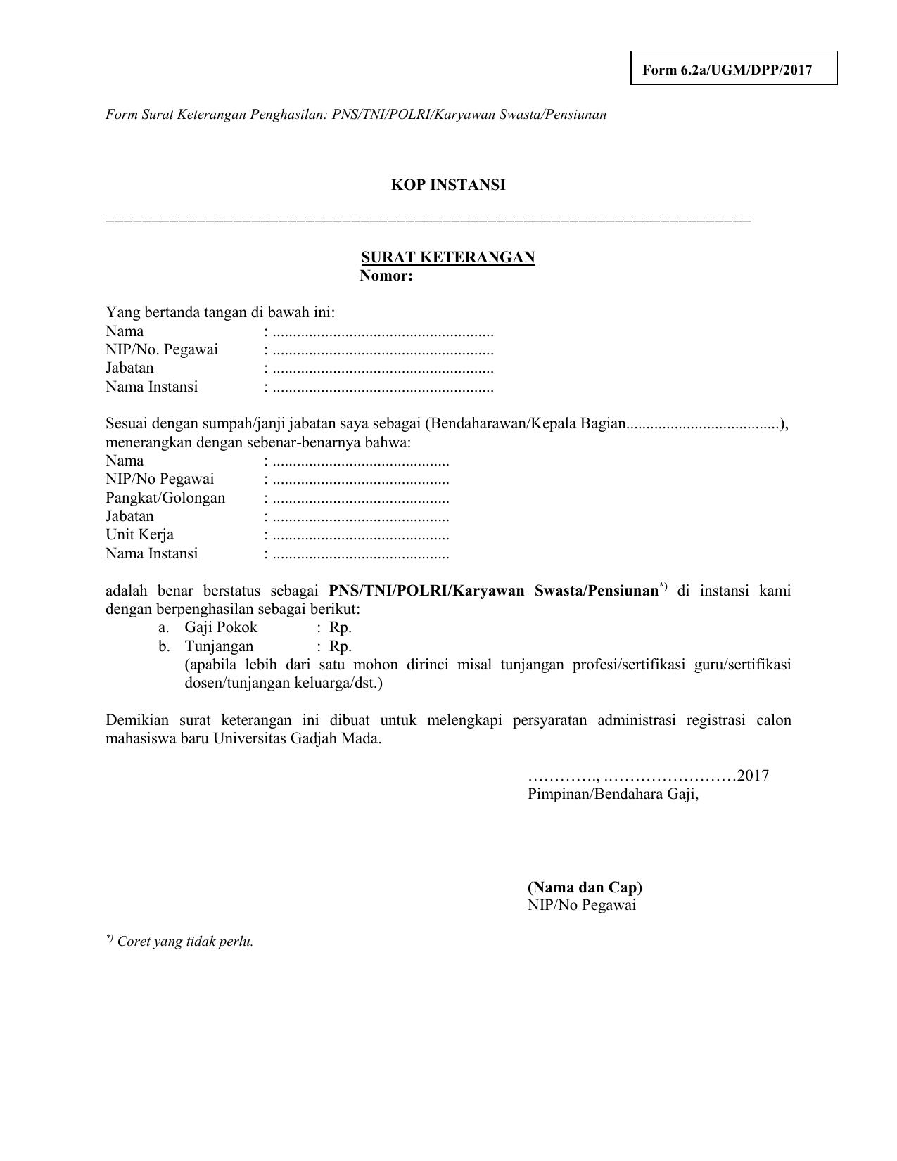 Form Surat Keterangan Penghasilan Pnstnipolrikaryawan