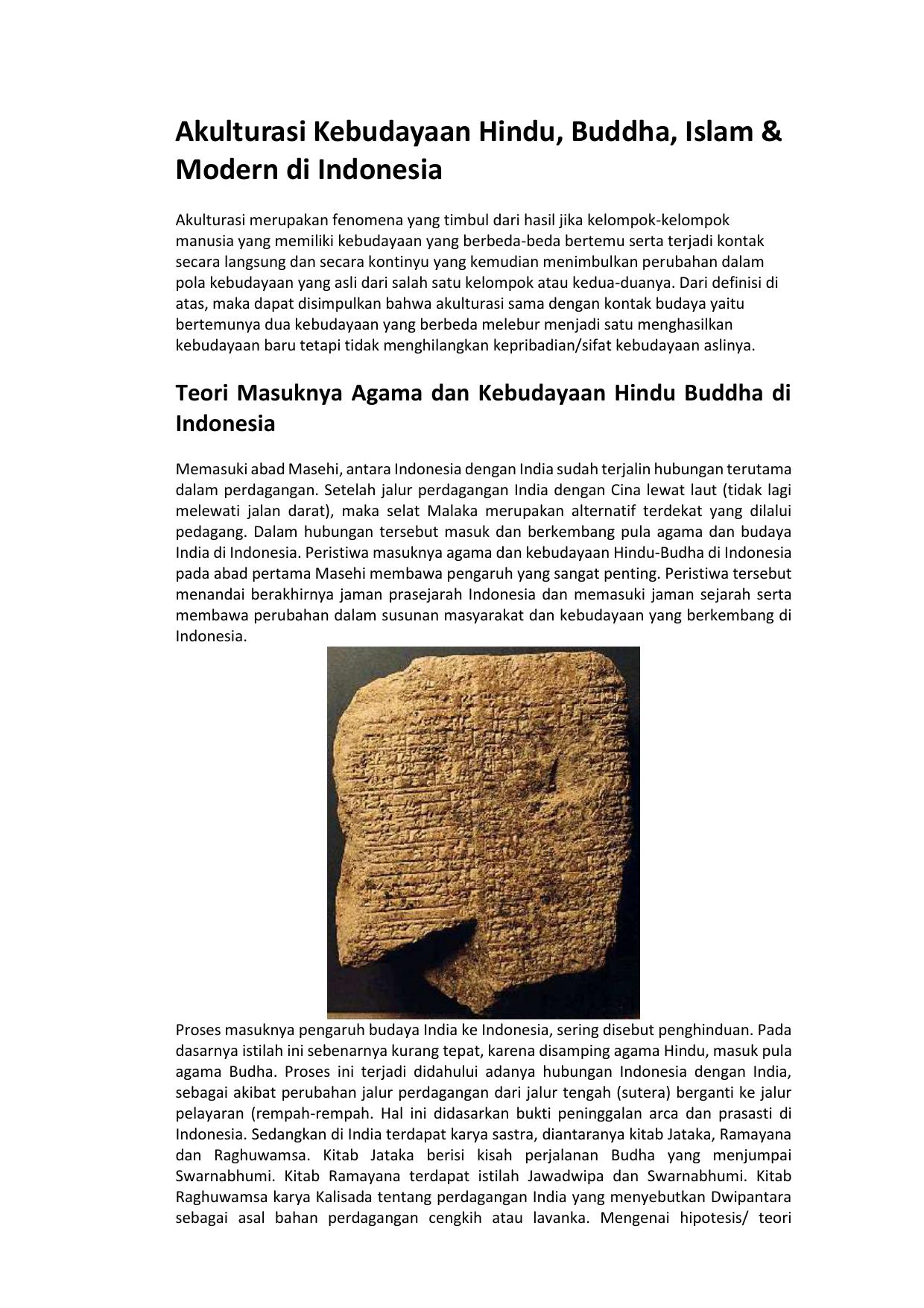 Akulturasi Kebudayaan Hindu Buddha Di Nusantara