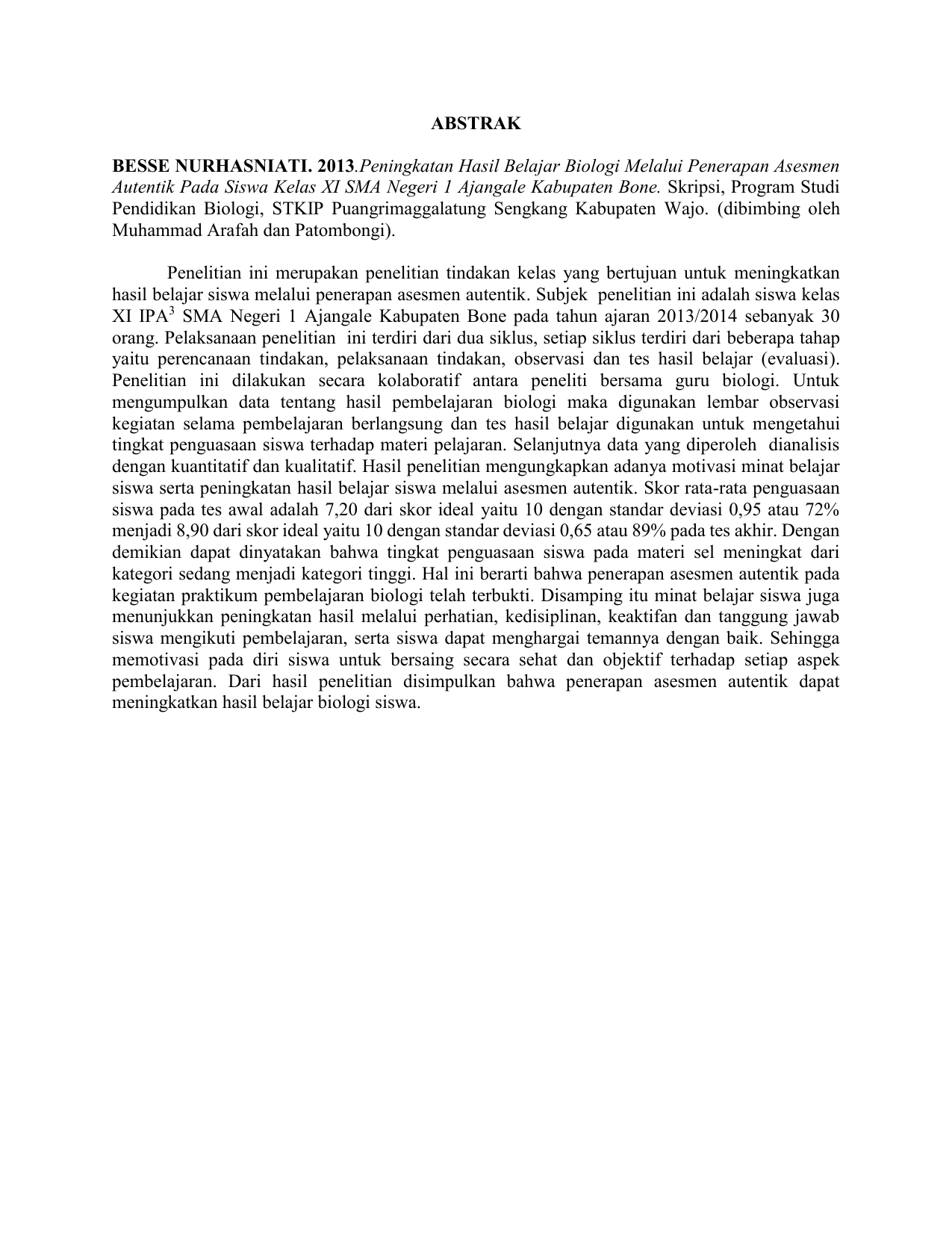 Doc Contoh Abstrak Skripsi Fadhlul Rahman Academia Edu
