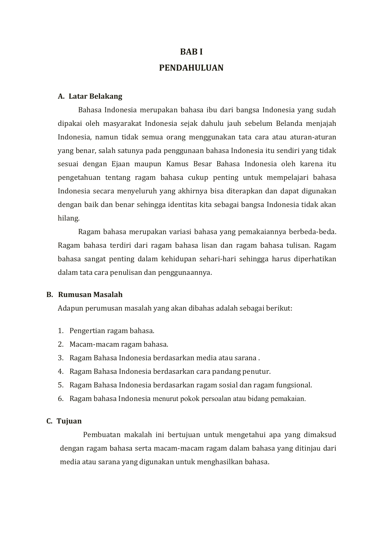 Ragam Dan Variasi Bahasa Indonesia Blog Ub