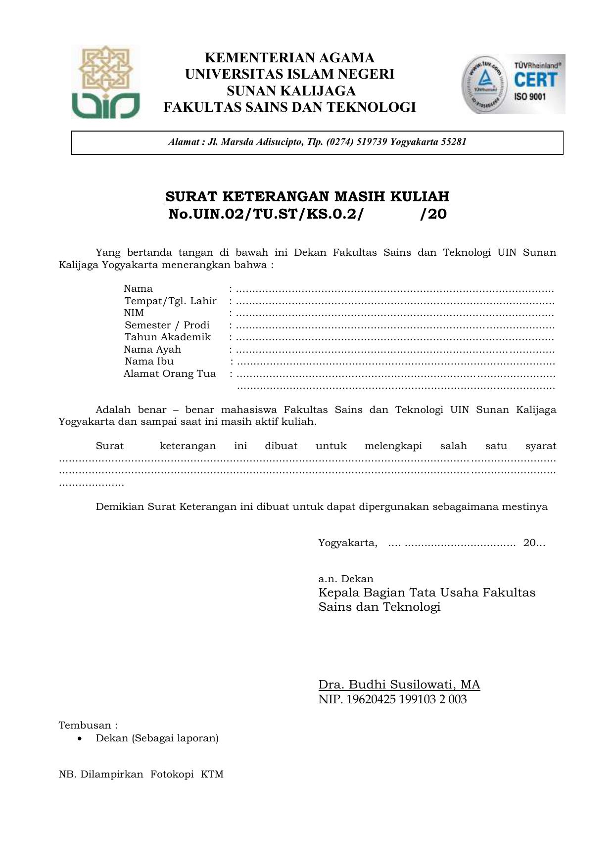 Surat Keterangan Masih Kuliah Nouin02tustks02