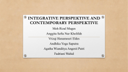 INTEGRATIVE PERSPEKTIVE AND CONTEMPORARY