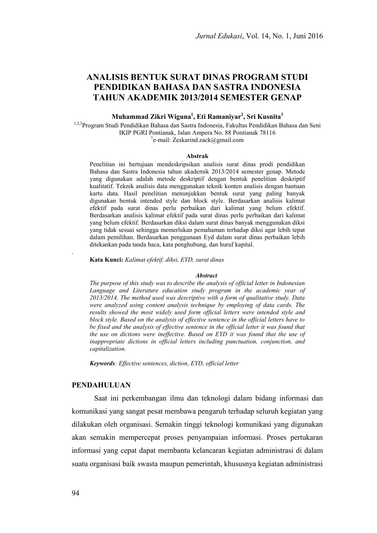 Analisis Bentuk Surat Dinas Program Studi Pendidikan Bahasa Dan