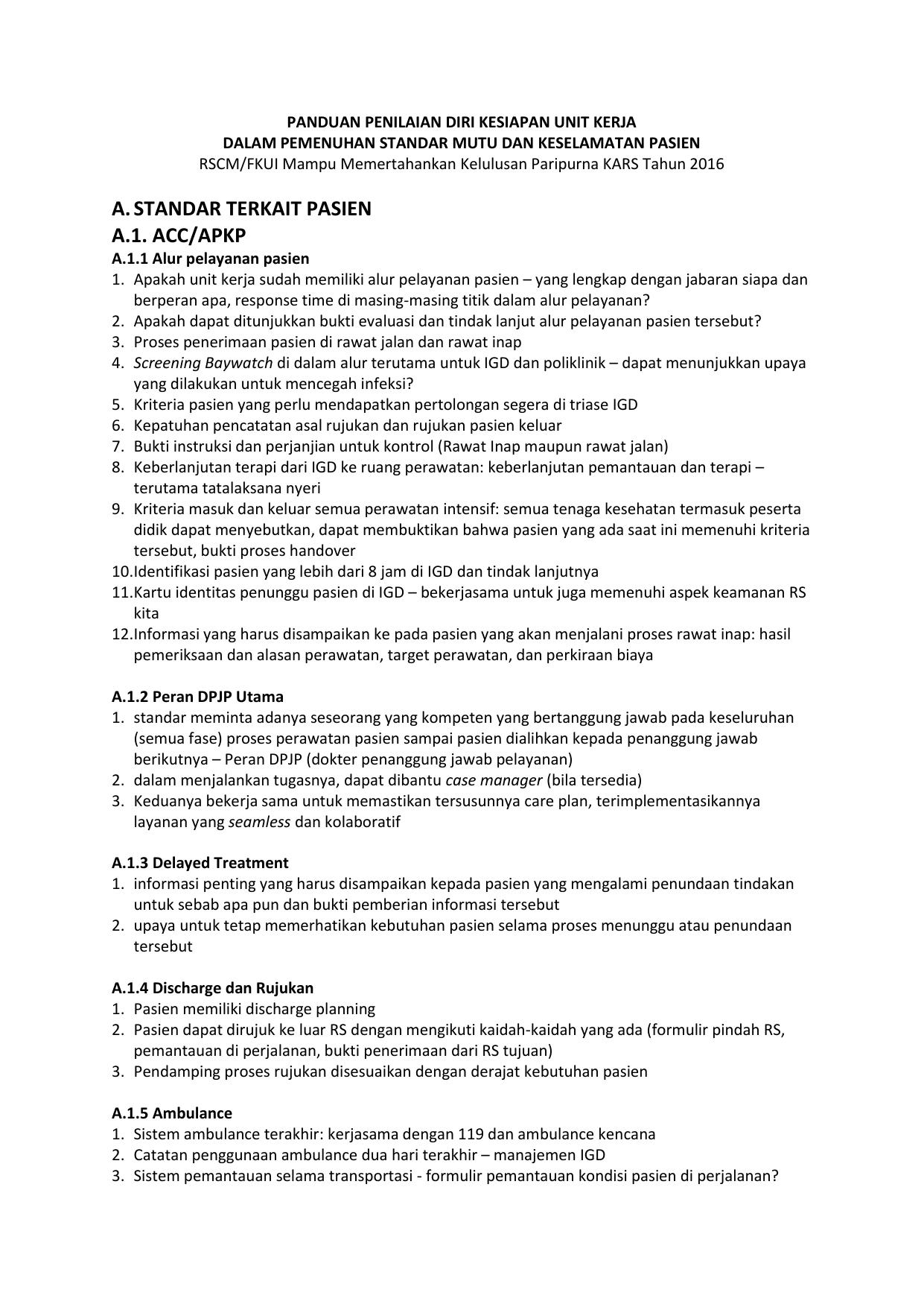 standar terkait pasien a 1  acc/apkp