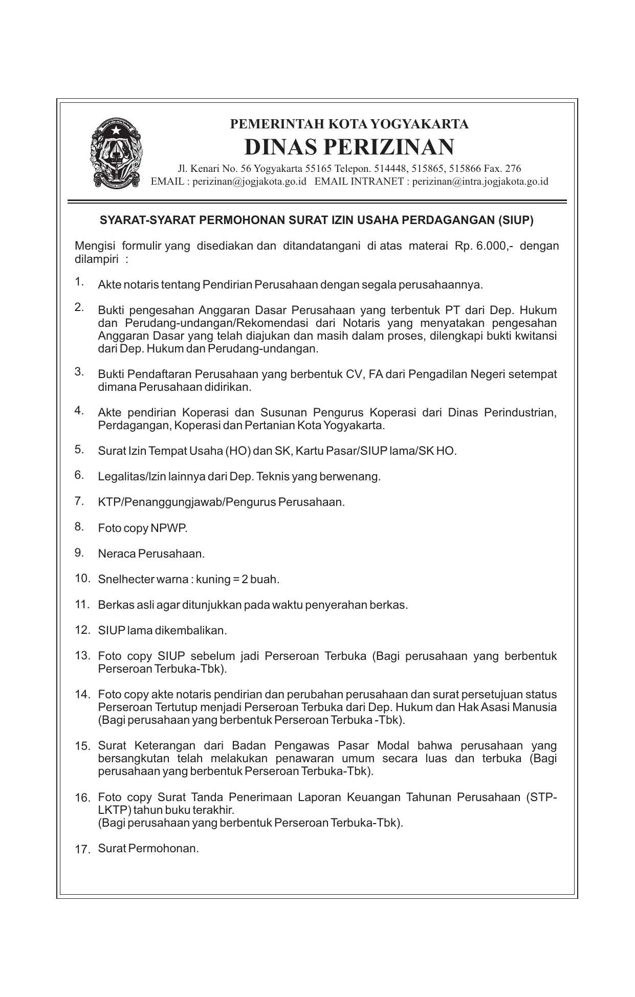 Permohonan Siup Dinas Perizinan Kota Yogyakarta