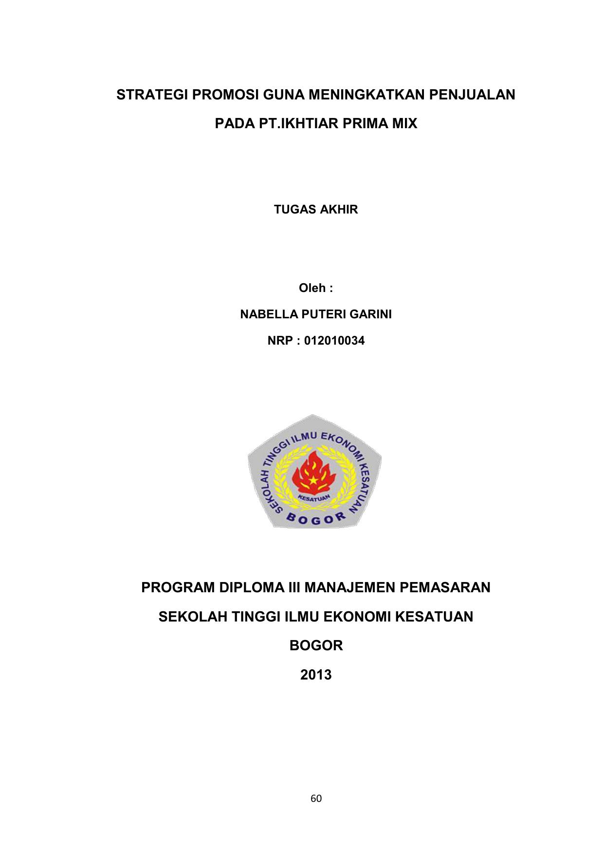 Strategi Promosi Guna Meningkatkan Penjualan Pada Pt Ikhtiar Prima