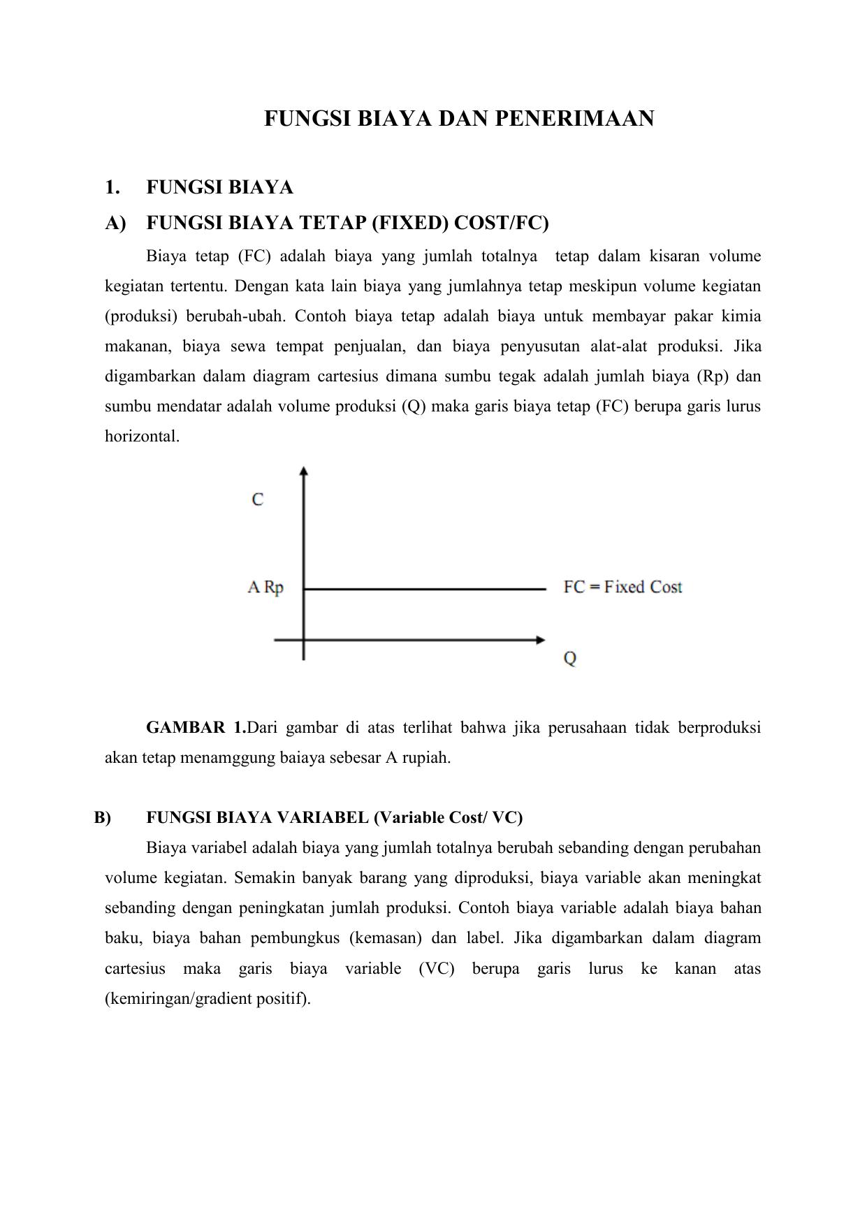 Fungsi biaya dan penerimaan fungsi biaya fungsi biaya tetap fixed ccuart Images