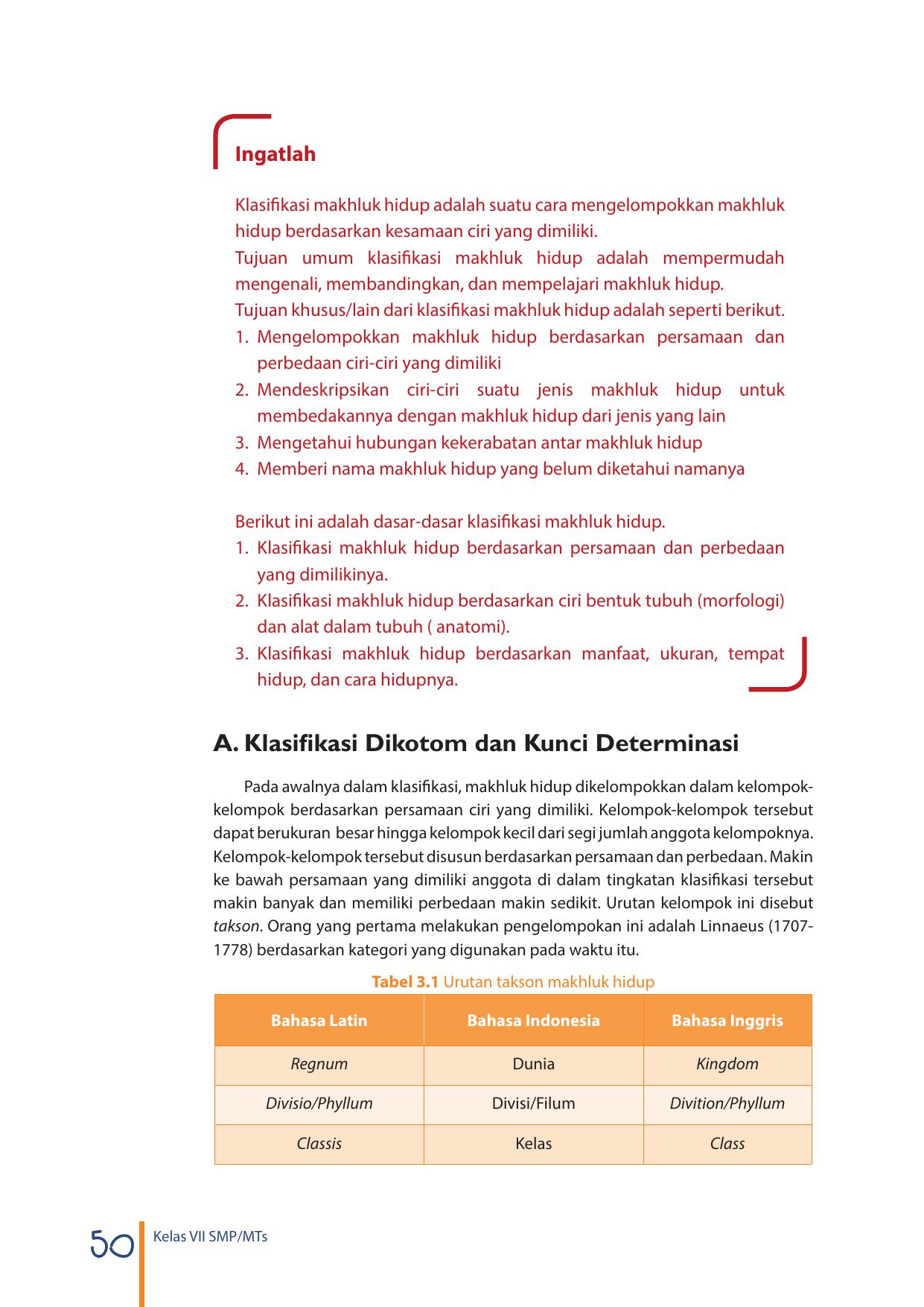 A Klasifikasi Dikotom Dan Kunci Determinasi