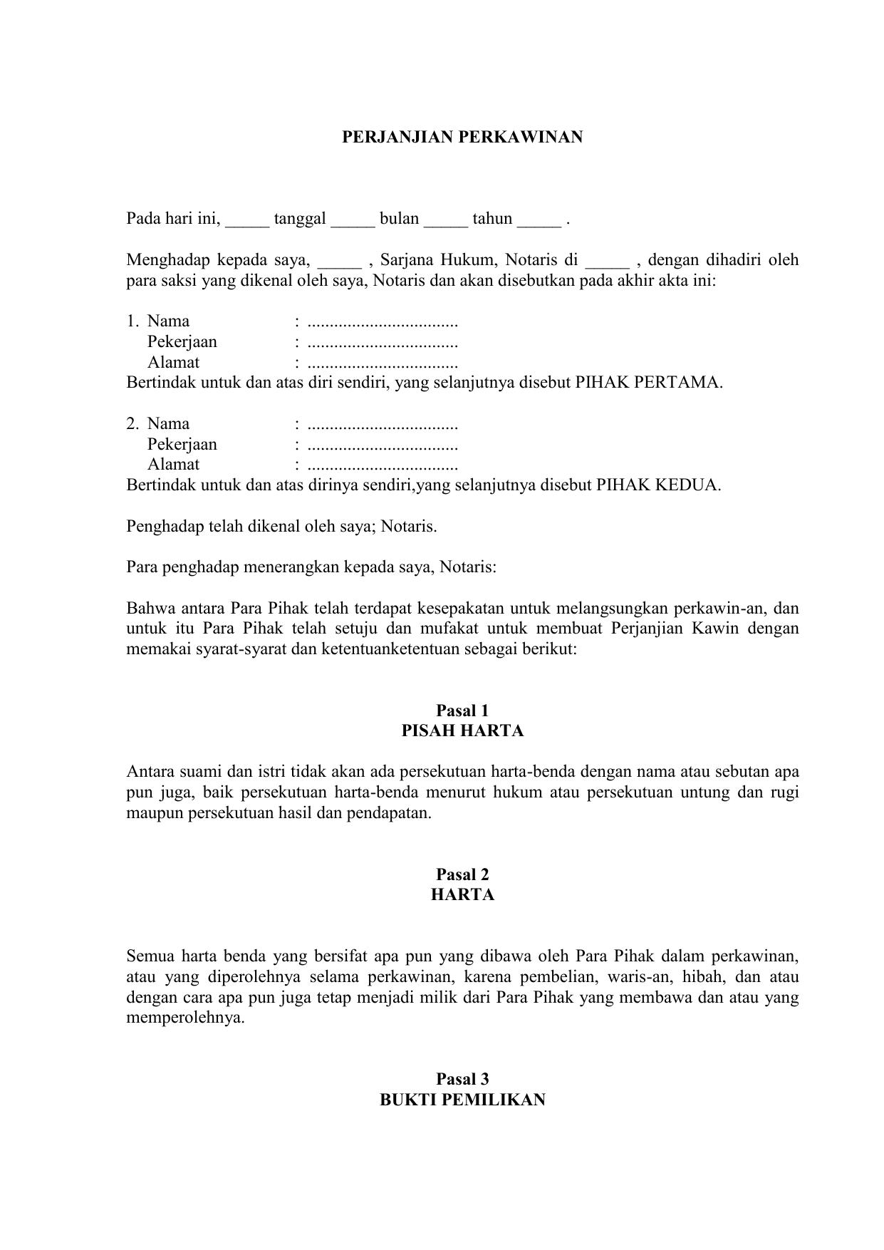 Contoh Surat Perjanjian Suami Istri - Mosaicone