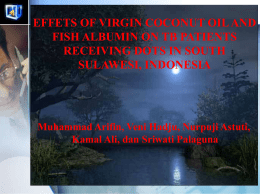 effets of virgin coconut oil and fish albumin on tb patients receiving