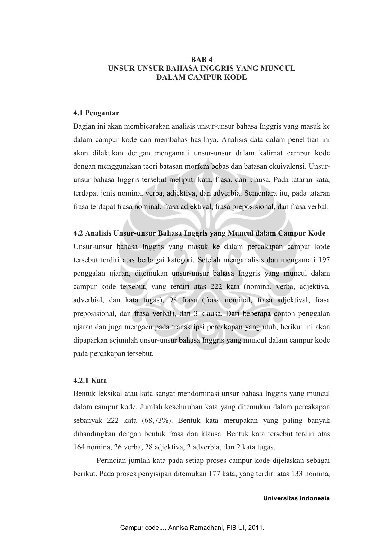Bab 4 Unsur Unsur Bahasa Inggris Yang Muncul