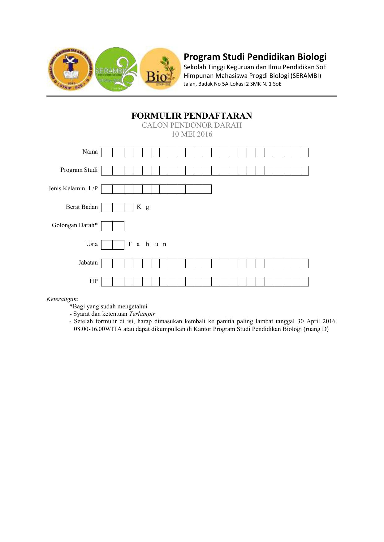 Formulir Pendaftaran Donor Darah