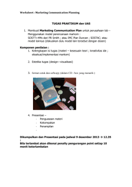 Worksheet : Marketing Communication Planning TUGAS