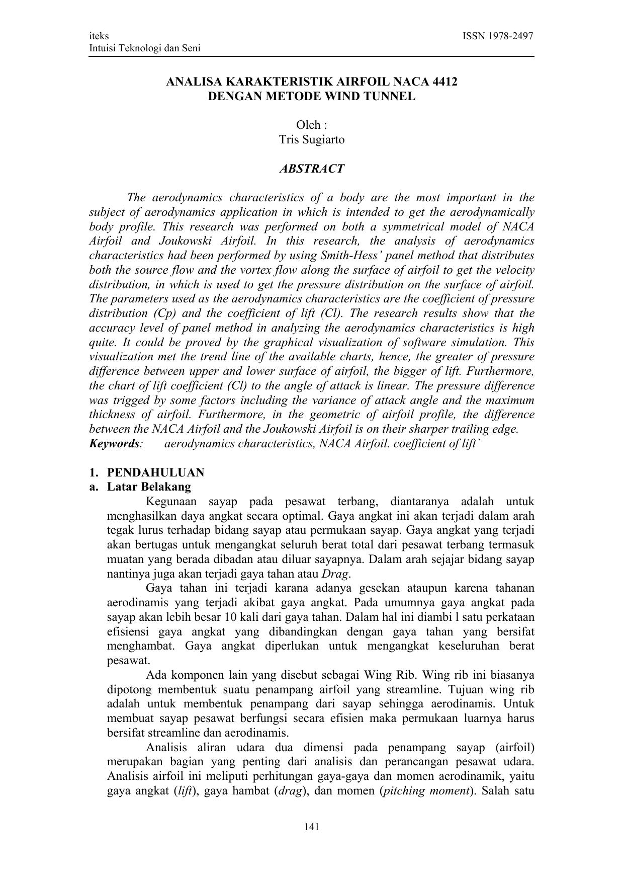 ANALISA KARAKTERISTIK AIRFOIL NACA 4412 DENGAN