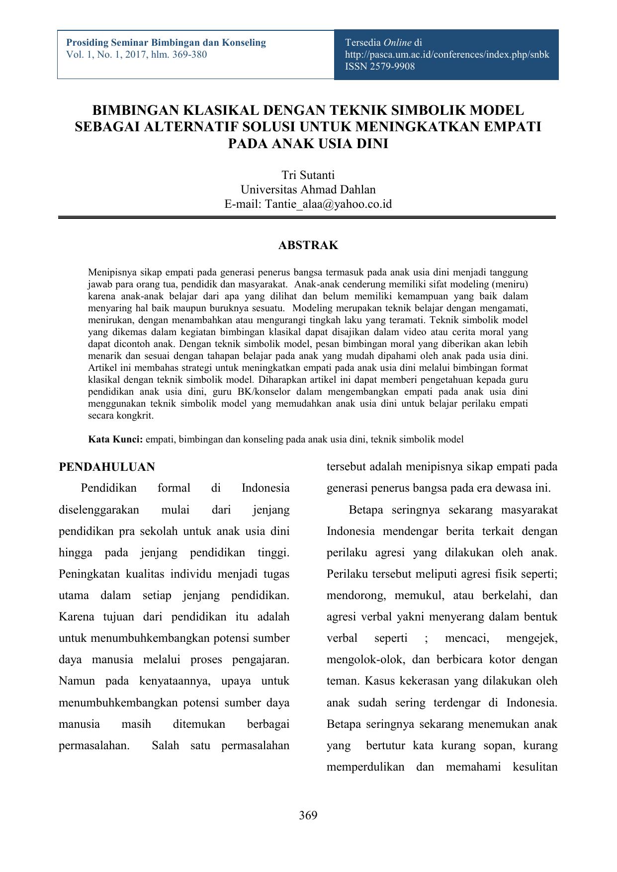 Bimbingan Klasikal Dengan Teknik Simbolik Model Sebagai Alternatif