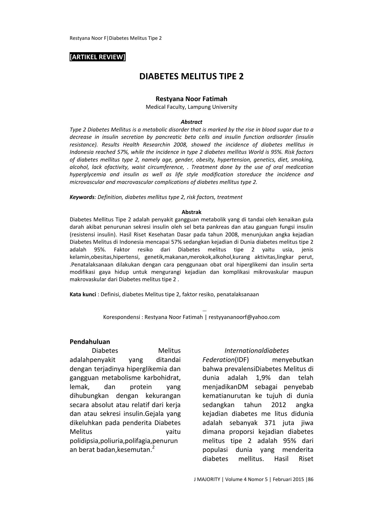 Diabetes Melitus Tipe 2 Jurnal Fakultas Kedokteran Universitas