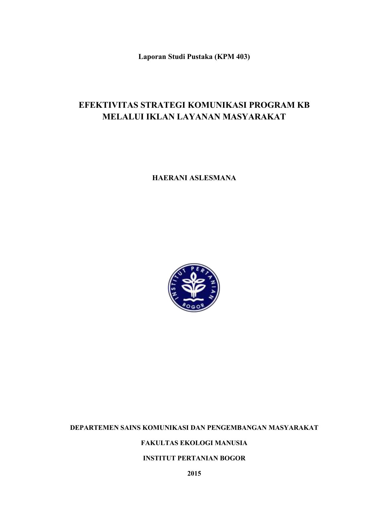 Strategi Komunikasi Program Kb