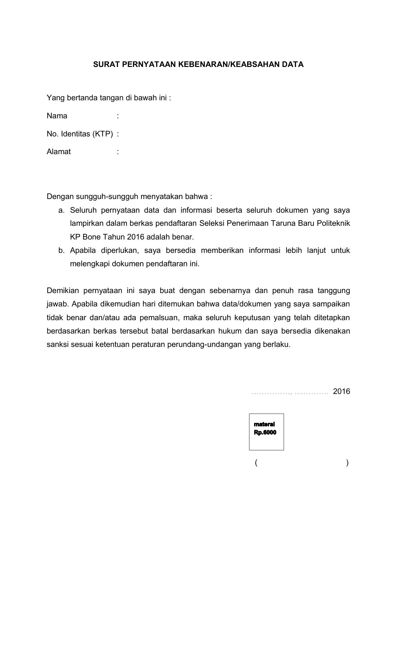 17++ Contoh surat pernyataan bermaterai mengenai keaslian dokumen terbaru terbaik