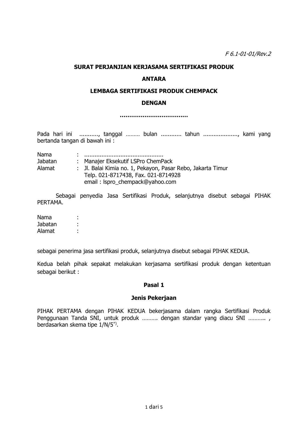 F 61 01 01rev2 Surat Perjanjian Kerjasama Sertifikasi