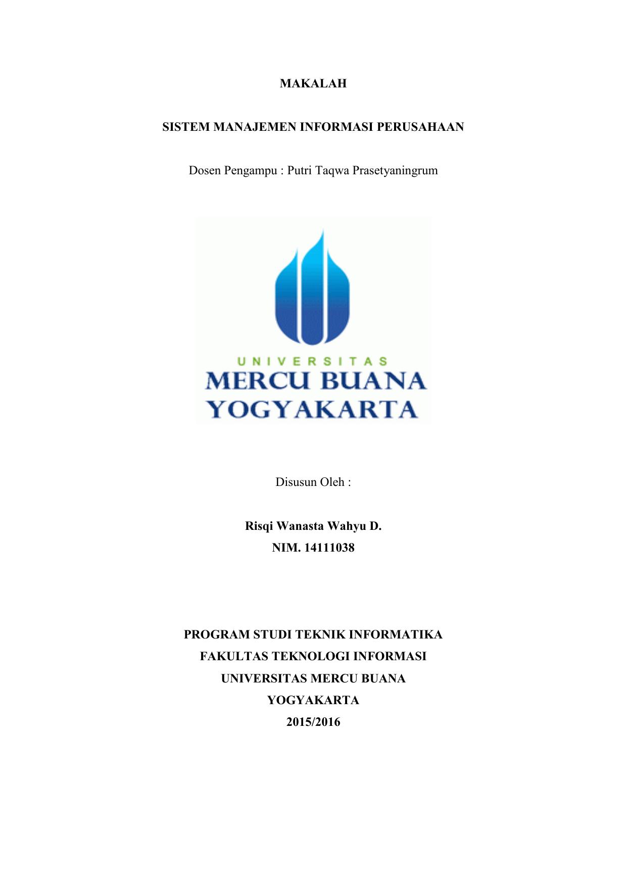 Makalah Sistem Manajemen Informasi Perusahaan