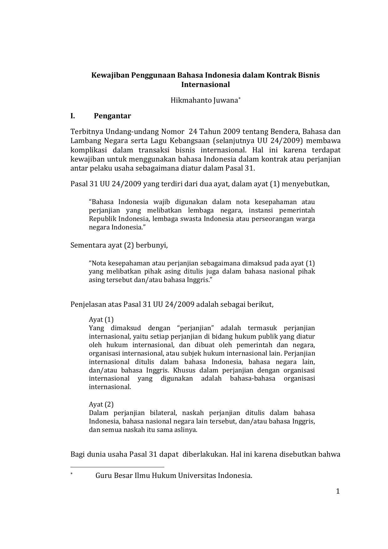 Kewajiban Penggunaan Bahasa Indonesia Dalam Kontrak Bisnis