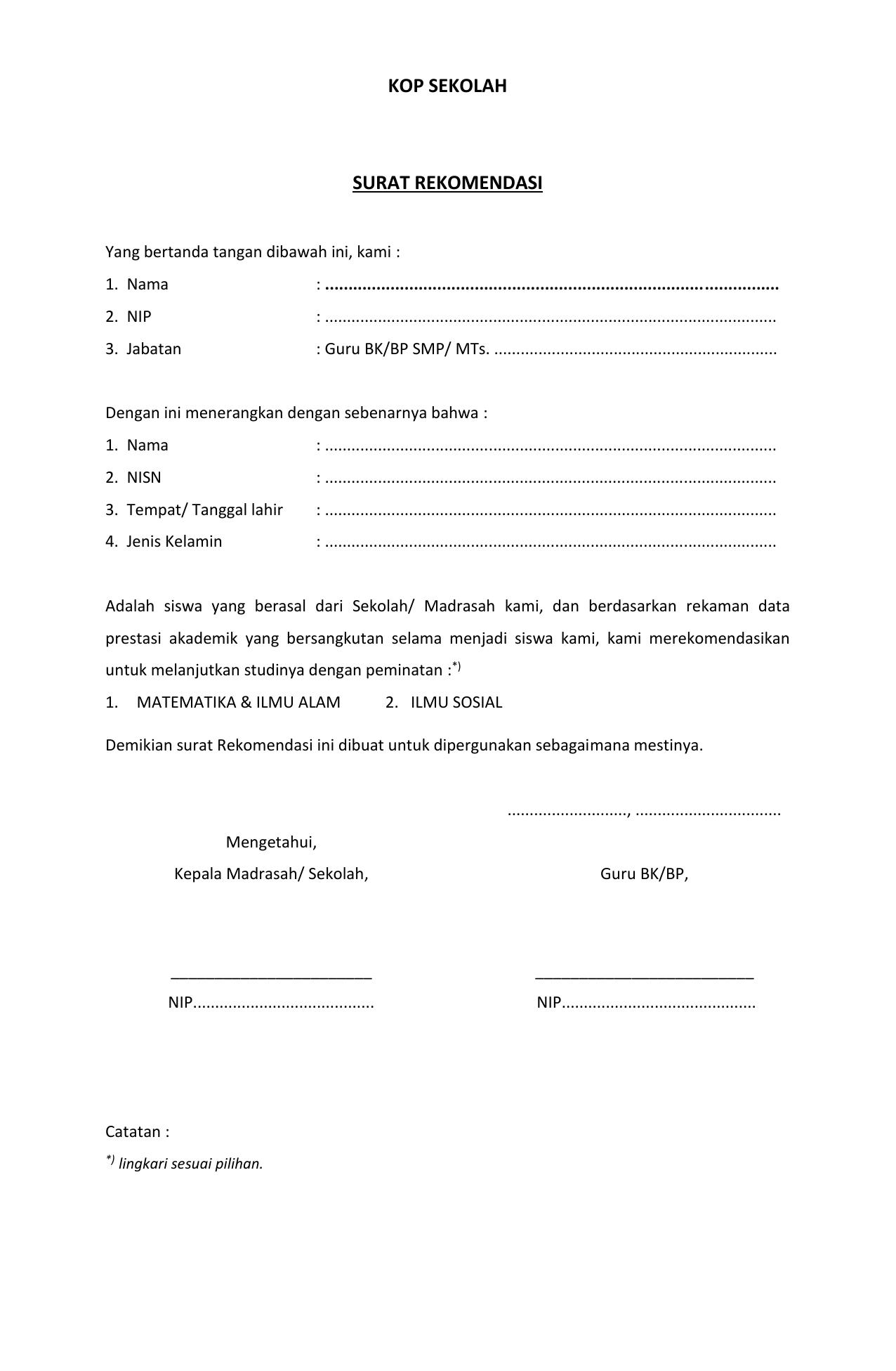 Format Rekomendasi Bk Smp