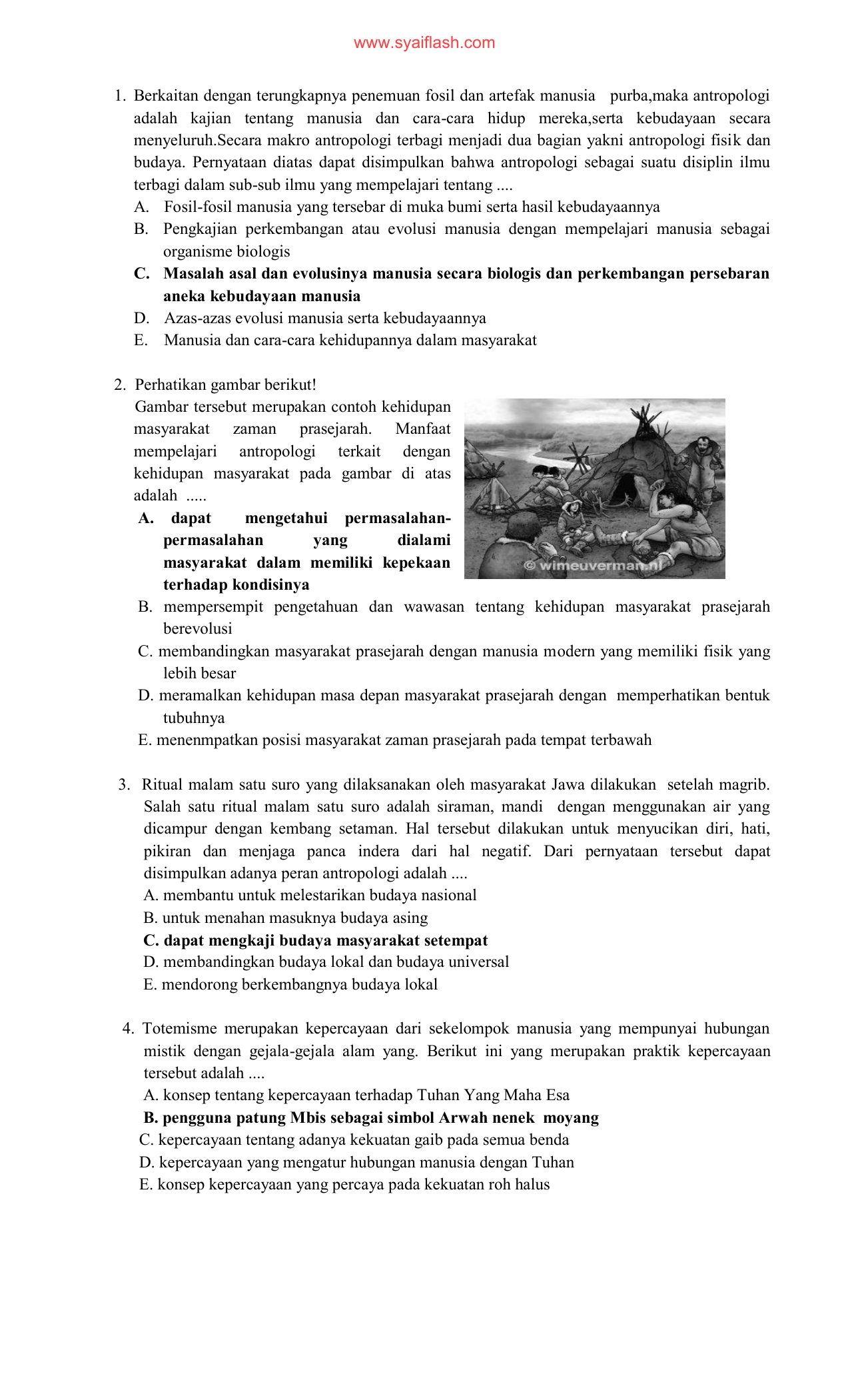 Soal Antropologi Paket A
