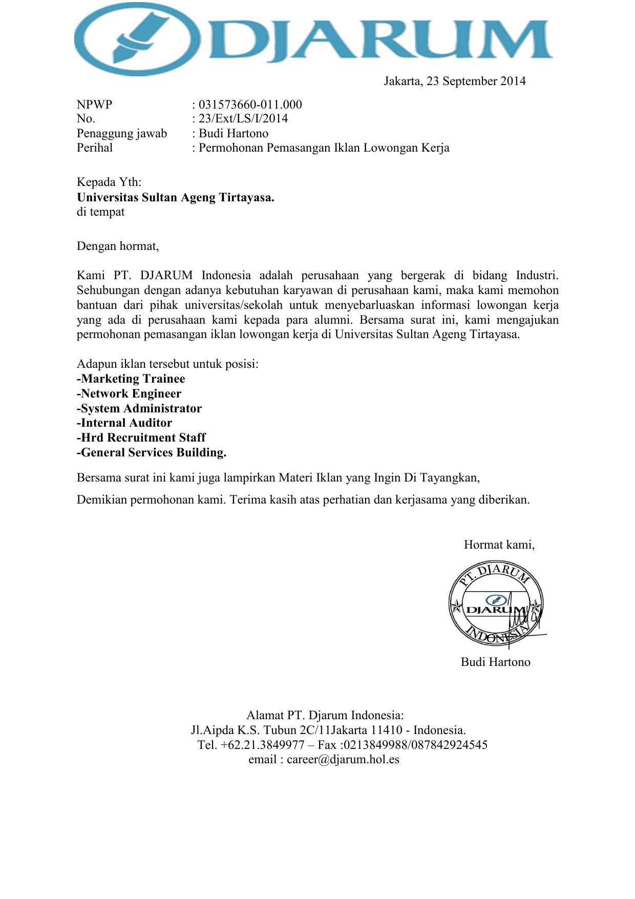 Surat Permohonan Pt Djarum