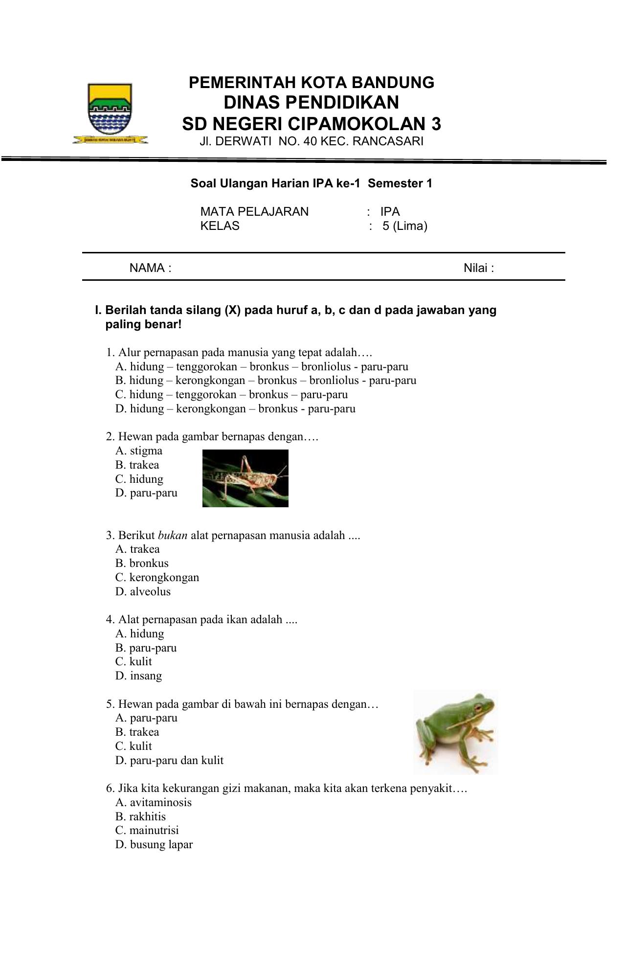 Soal Ulangan Harian 1 Kelas 5 Semester 1