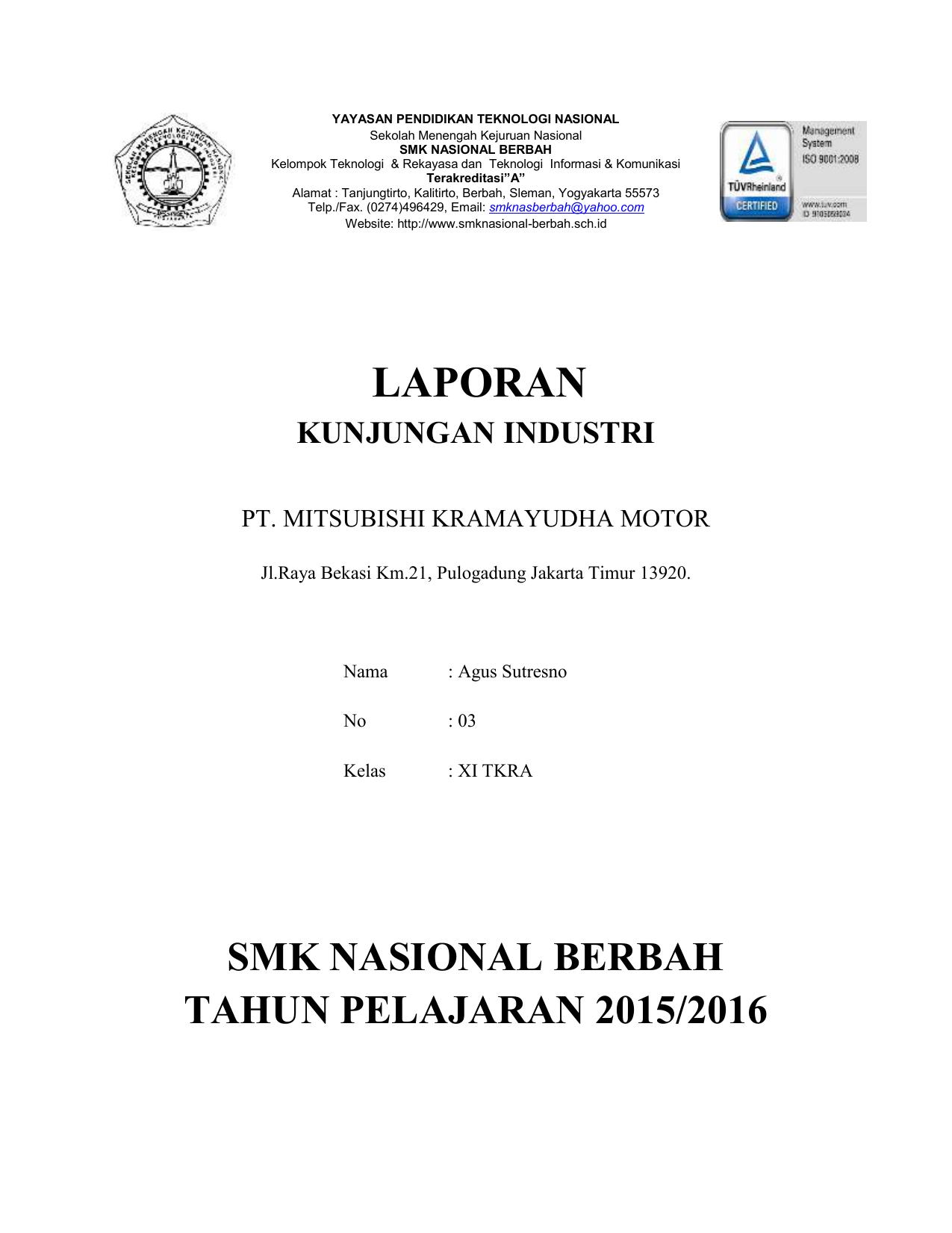 Contoh Laporan Kunjungan Industri Smk Tkj Kumpulan Contoh Laporan