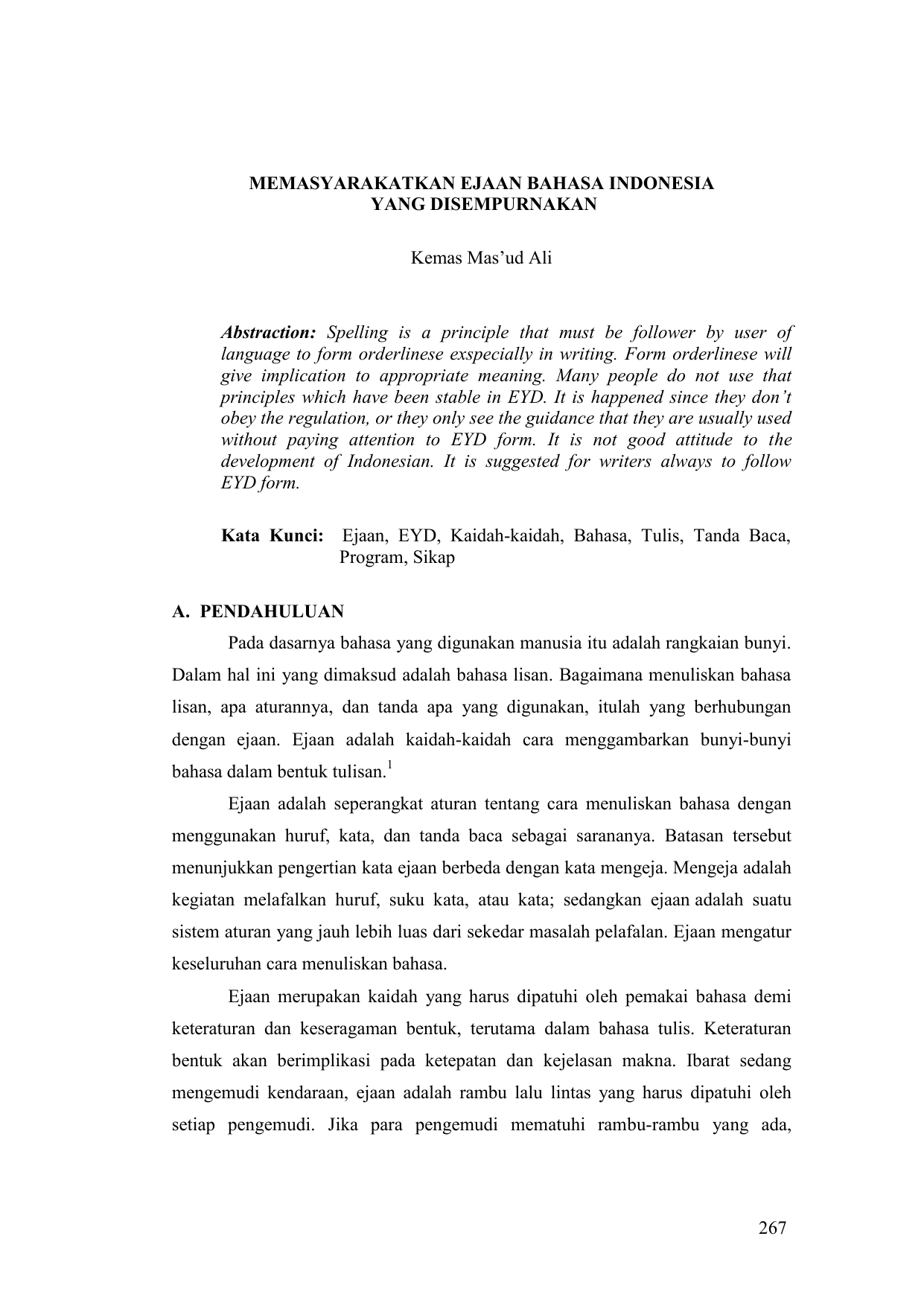Memasyarakatkan Ejaan Bahasa Indonesia Yang Disempurnakan