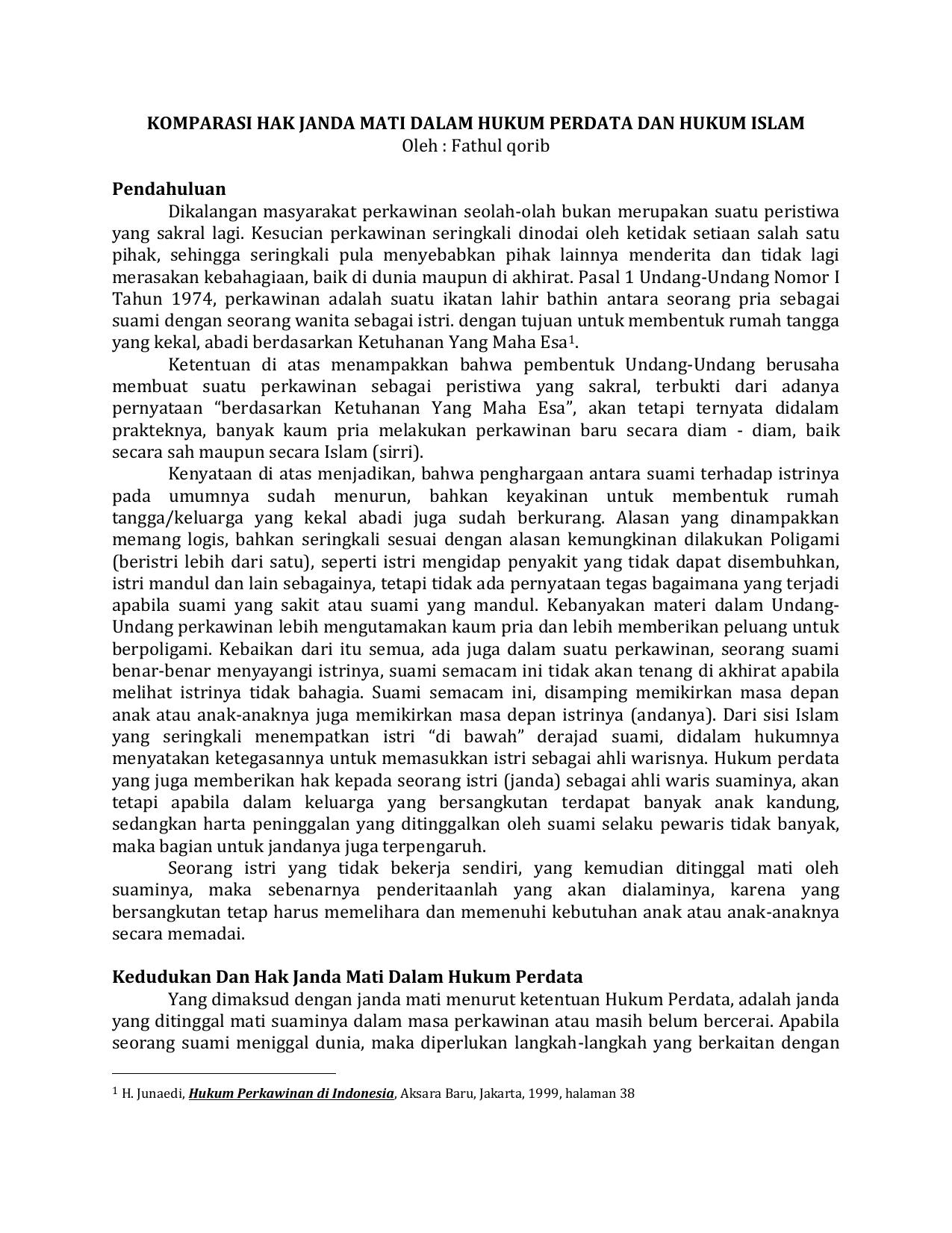 Komparasi Hak Janda Mati Dalam Hukum Perdata Dan Hukum Islam