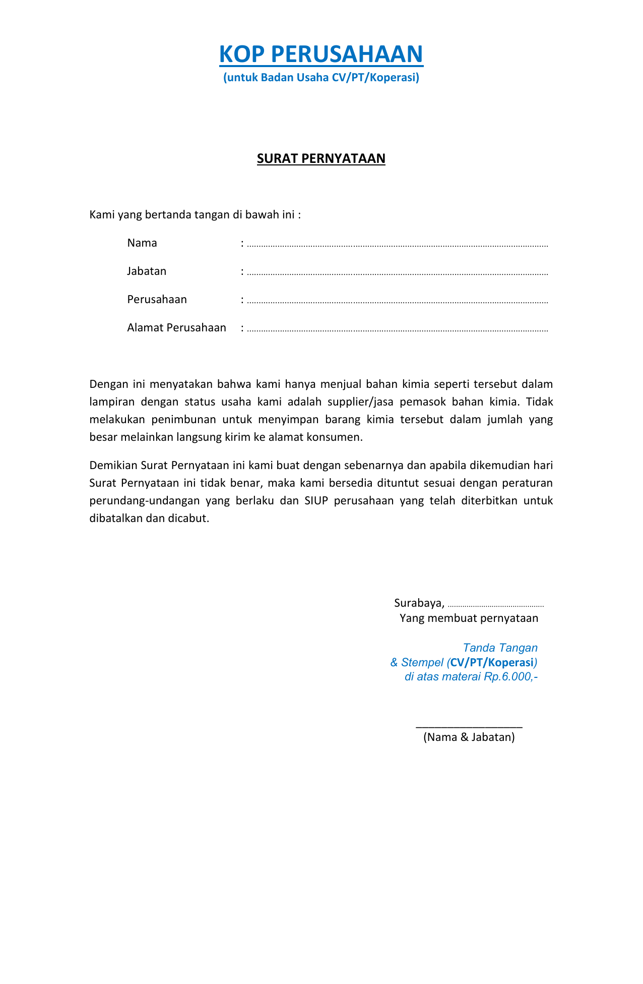 surat pernyataan untuk bidang usaha bahan kimia