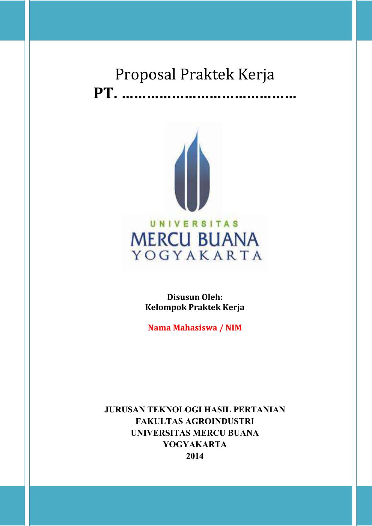 Proposal Praktek Kerja Universitas Mercu Buana Yogyakarta