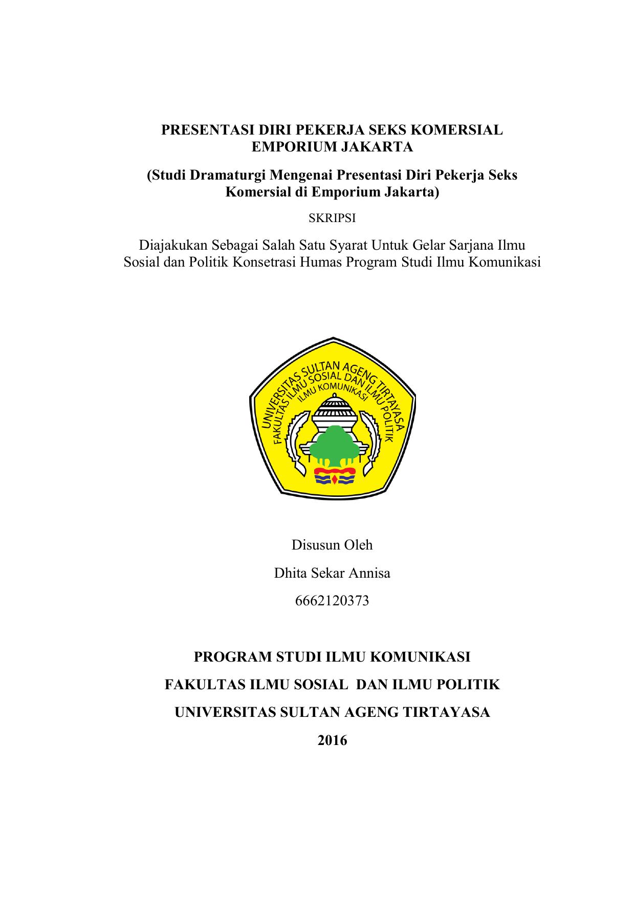 Presentasi Diri Pekerja Seks Komersial Emporium
