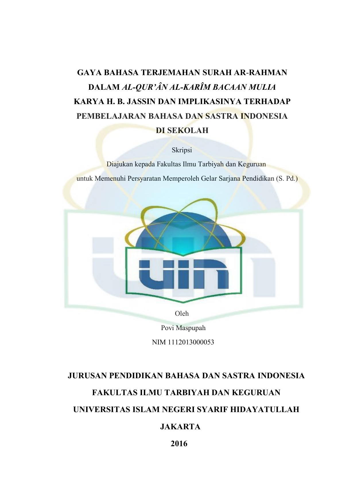 Gaya Bahasa Terjemahan Surah Ar Rahman Dalam Al Qurân Al