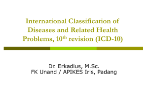 Pengkodean penyakit dengan Int`l Classification of Diseases and