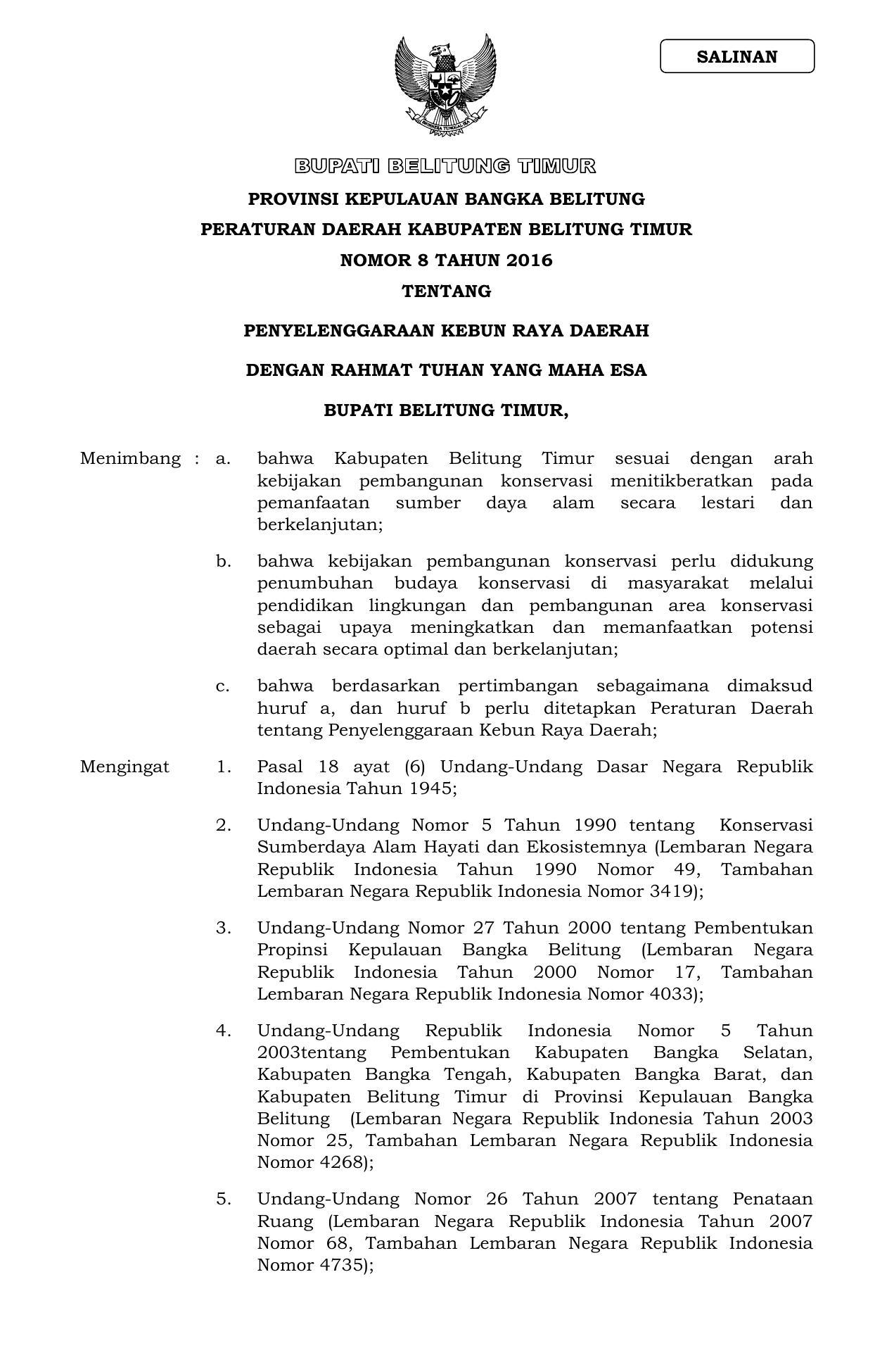 Provinsi Kepulauan Bangka Belitung Peraturan Daerah Kabupaten