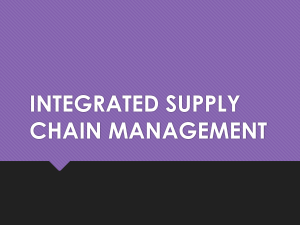 Integrated Supply Chain Management - E