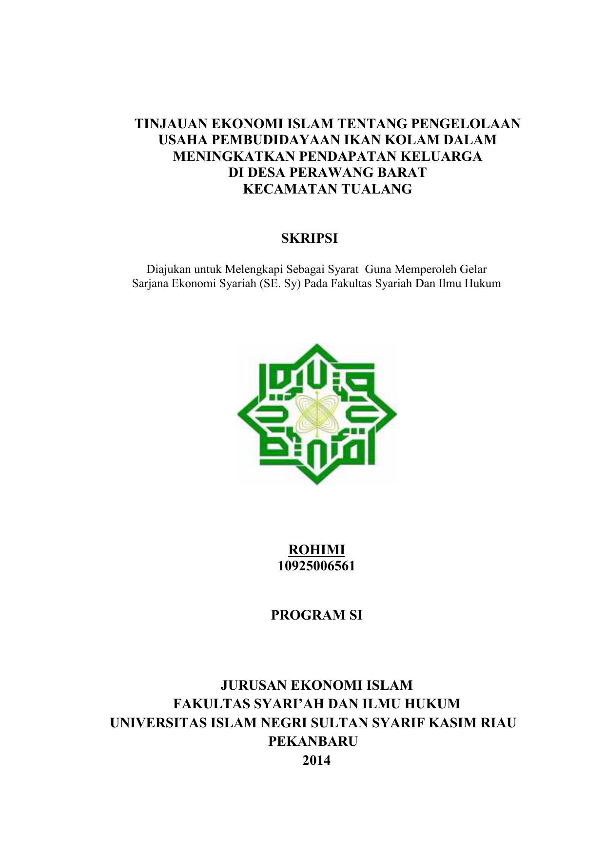 Tinjauan Ekonomi Islam Tentang Pengelolaan Usaha Pembudidayaan