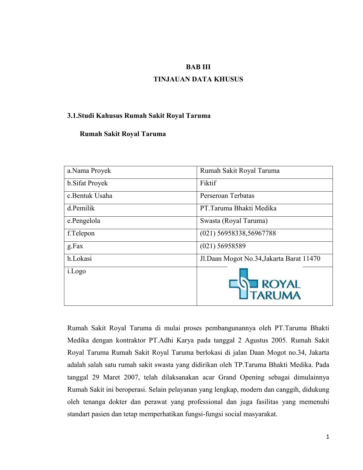 Bab Iii Tinjauan Data Khusus 31studi Kahusus Rumah Sakit