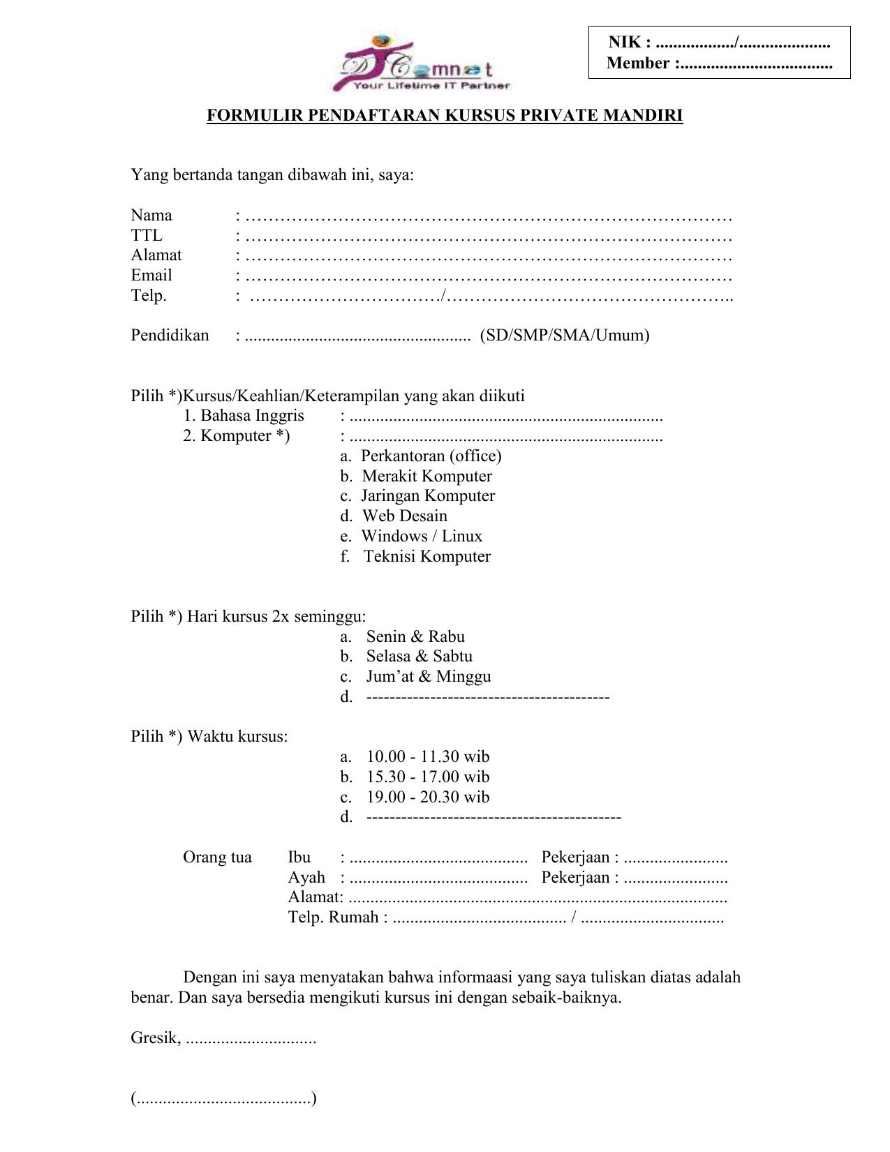 Formulir Pendaftaran Kursus Private Mandiri