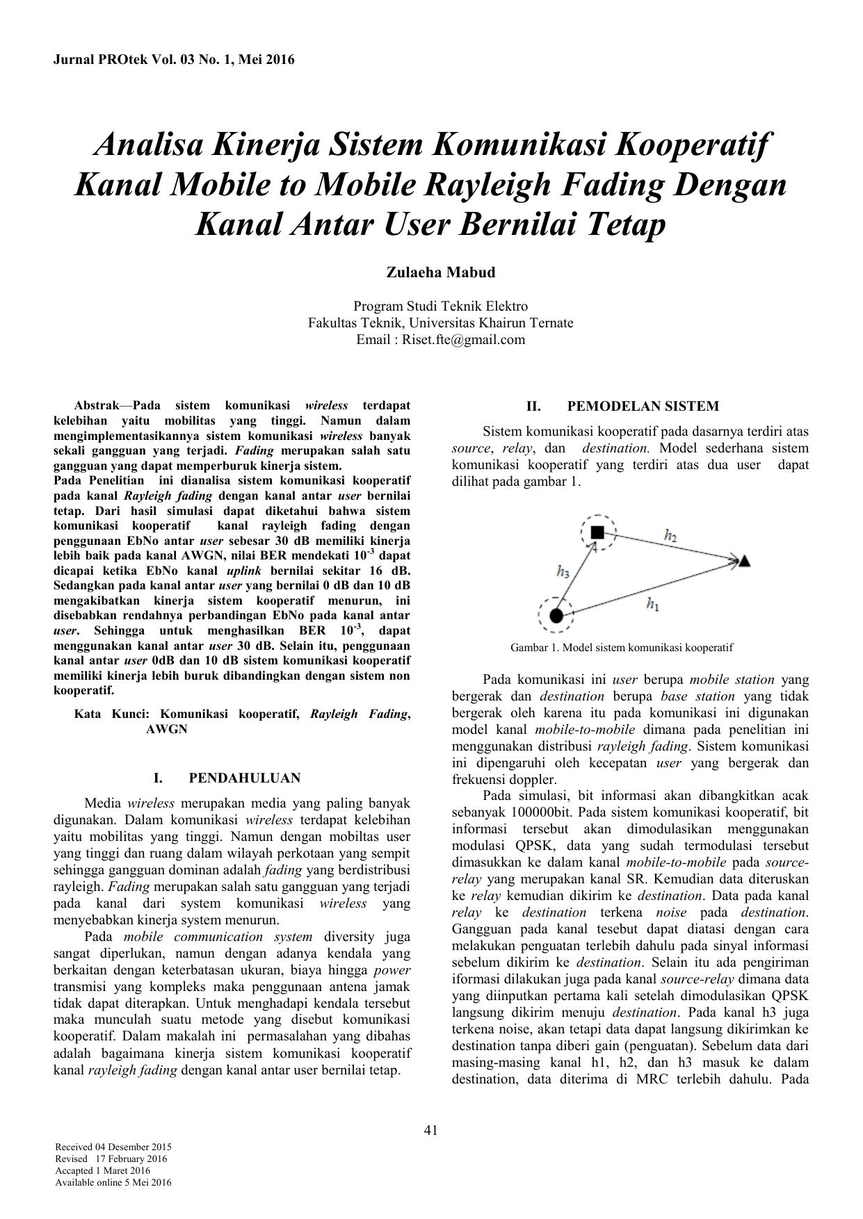 Analisa kinerja sistem komunikasi kooperatif kanal e ccuart Gallery