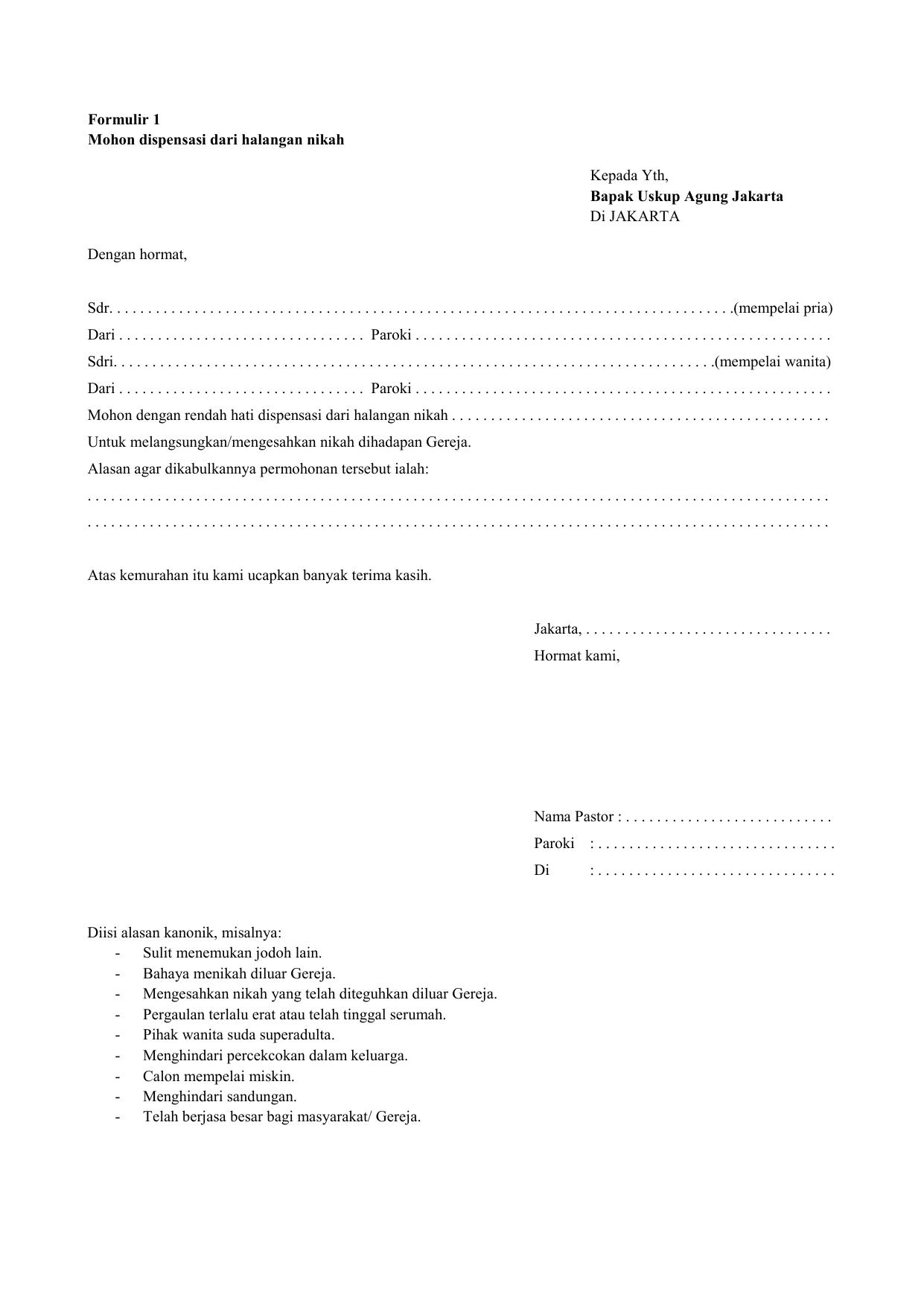 Formulir 1 Mohon Dispensasi Dari Halangan Nikah Kepada Yth