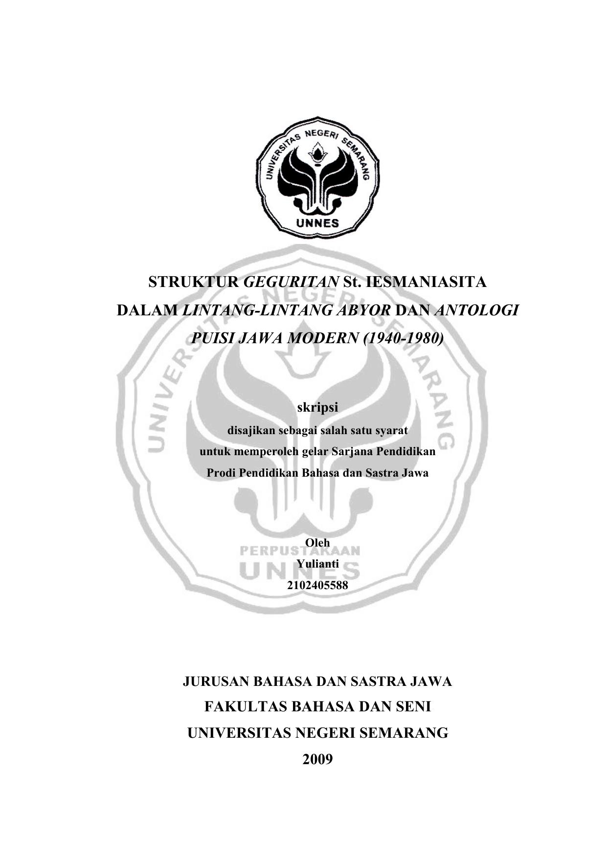 Struktur Geguritan St Iesmaniasita Dalam Lintang
